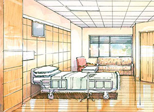 The new labor-delivery-recovery-postpartum rooms provide ample room at the foot of the bed.