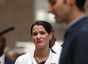 Laura Evans (left) at the press conference announcing Spencer (right) was Ebola free