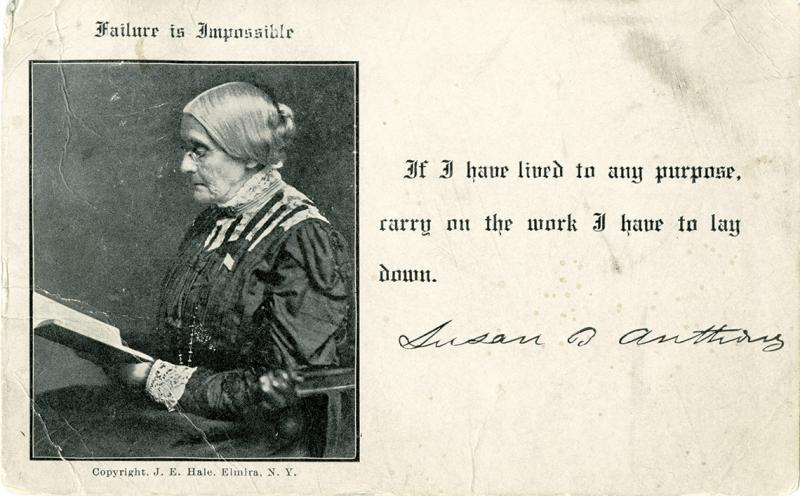 A postcard inviting Dr. Banks to a suffrage event features a picture of her friend Susan B. Anthony