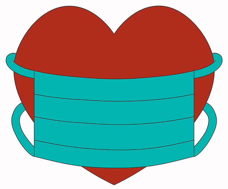 Illustration of a heart with mask