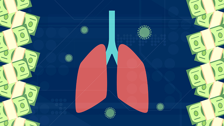 Illustration of lungs bordered by currency