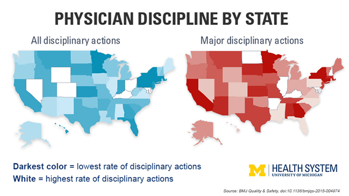 Physician Discipline by State map chart