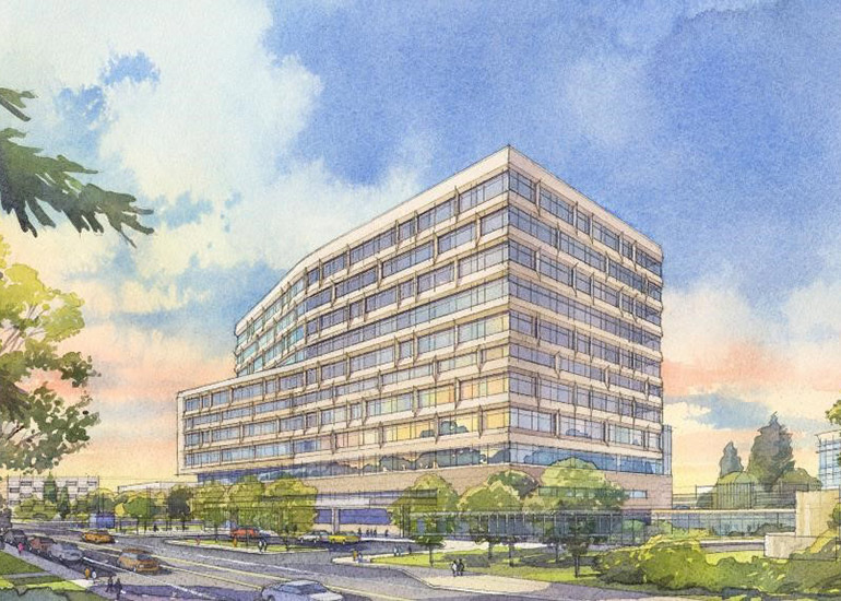 Architectural rendering of the new hospital tower.