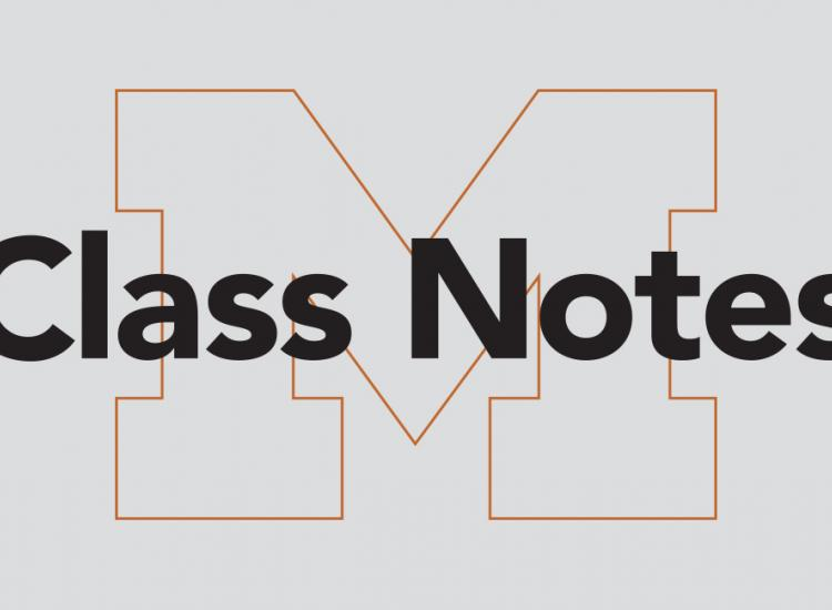 The words Class Notes over an outline of a block M