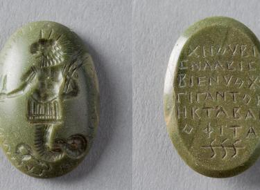 This stomach amulet depicts the lion-headed serpent Chnoubis.