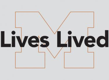 Illustration of the words Lives Lived over an outline of a block M