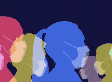 silhouettes of people in multi-colors